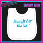 MANCHESTER CITY FOOTBALL WHITE BABY BIB EMBROIDERED